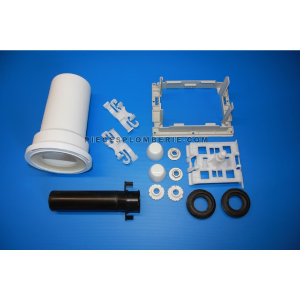 Ce kit de liaison WIRQUIN  comprend :   Un tube blanc d'évacuation  Un tube noir d'alimentation pour réservoir  Un cadre de fixation + poussoir + clips  Un jeu d'écrou + rondelle + cache blanc